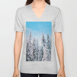 Snow covered evergreens Unisex V-Neck