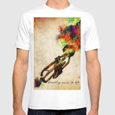 BREATHING MUSIC TO LIFE MEDIUM Mens Fitted Tee White