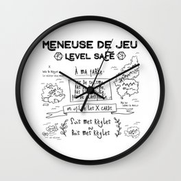 Meneuse de Jeu, level SAFE / Feminist French Roleplaying Wall Clock