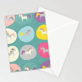 Cute Unicorn polka dots teal pastel colors and linen texture #homedecor #apparel #stationary #kids Stationery Cards