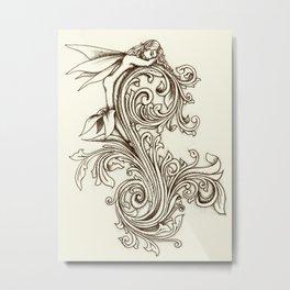 Scrollwork faerie Metal Print