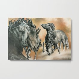 Abstract Stallion Horse Sculpture Painting Metal Print