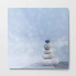 Balanced Zen Pebble Stack Blue Light Metal Print