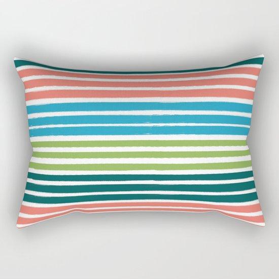 Minimal striped summer tropical pattern blue green happy pattern for beach Rectangular Pillow
