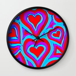 Funky Abstract Zendoodle Hearts Wall Clock