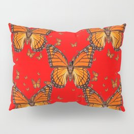 ORANGE MONARCH BUTTERFLIES RED MODERN ART MONTAGE Pillow Sham
