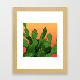 Prickly Pear Desert Sunset Framed Art Print