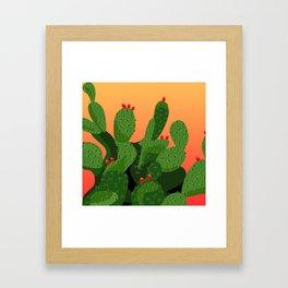 Prickly Pear Desert Sunset Framed Art Print