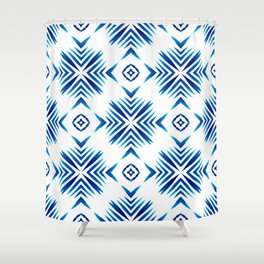Shibori Blue Watercolour No.15 Shower Curtain