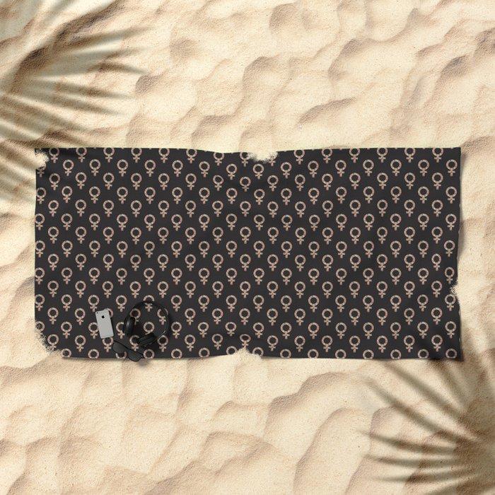 Fearless Female Black Beach Towel