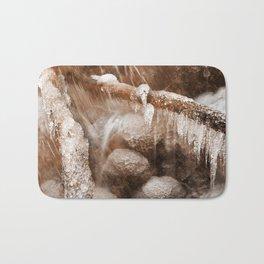 Frozen Harp Falls - Sepia Nostalgia Bath Mat