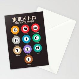 Tokyo subway alphabet map, City metro poster, japan underground print, japanese city wall art Stationery Cards