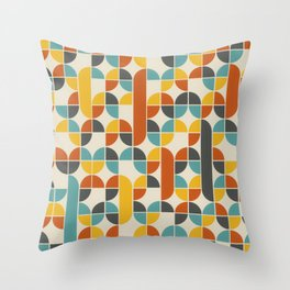 1970s Colors Mid Century Modern Geometric Pattern  Throw Pillow