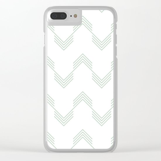Deconstructed Chevron in Pastel Cactus Green on White Clear iPhone Case