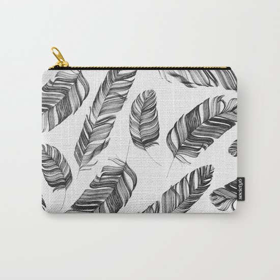 Black and white feathers Carry-All Pouch