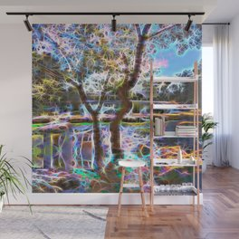 Trees Pond and Light Streams Wall Mural