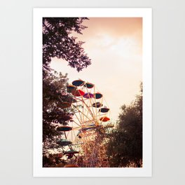 Ferris & The Red Sunset Art Print