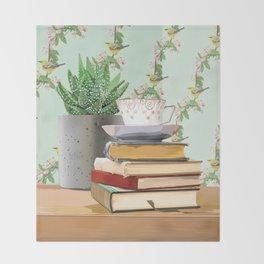 Tea and book love Throw Blanket