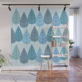 Mid century Trees in Blue Wall Mural