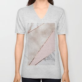 Spliced mixed rose gold marble Unisex V-Neck