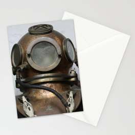 Antique vintage metal underwater diving helmet Stationery Cards