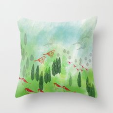 Birds and Leaves Throw Pillow