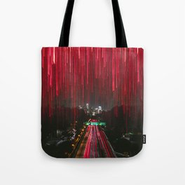 Lights and the LA Skyline at Night Tote Bag