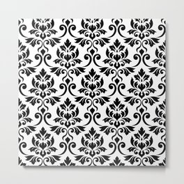 Feuille Damask Pattern Black on White Metal Print