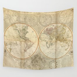 Vintage Map of The World (1799) 2 Wall Tapestry