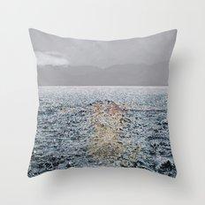 Swimming under the rain Throw Pillow