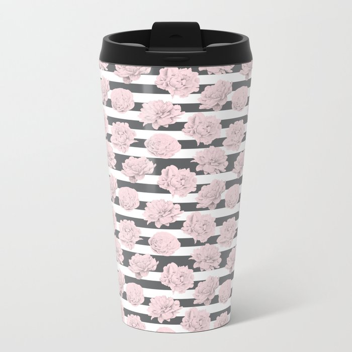 Rose Garden Stripes Pink Flamingo on Storm Gray and White Metal Travel Mug