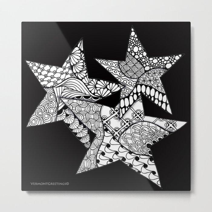 Midnight Zentangle Stars Black and White Illustration Metal Print