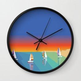 Sailing on the Beach Wall Clock