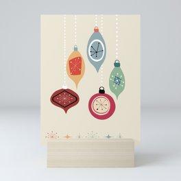 Retro Christmas Baubles Mini Art Print