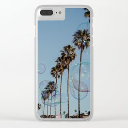 Bubbles & Palm Trees Clear iPhone Case