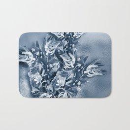 Beautiful flower bouquet on a rippled deep blue background Bath Mat