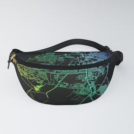 Asmara, Eritrea, City, Map, Rainbow, Map, Art, Print Fanny Pack