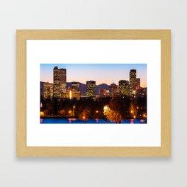 Denver Colorado Skyline Wide Angle Color Framed Art Print