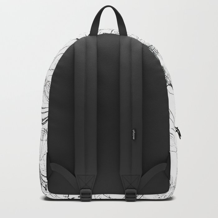 lily sketch black and white pattern Backpack