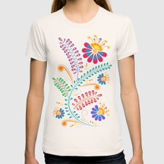 Retro Floral Natural LARGE Womens Fitted Tee