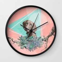 Eclectic Geometric Redbone Coonhound Dog Wall Clock