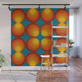 70s Circle Design - Teal Background Wall Mural