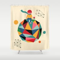 lonely Shower Curtains featuring Lonely planet by Andy Westface
