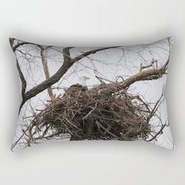 Bald Eagle on a Nest Rectangular Pillow