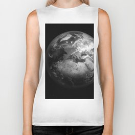 Earth in Space Black & White Biker Tank