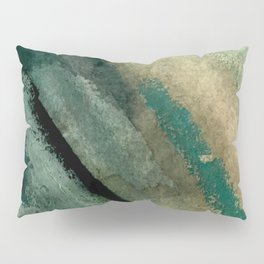 Green Thumb - an abstract mixed media piece in greens and blues Pillow Sham