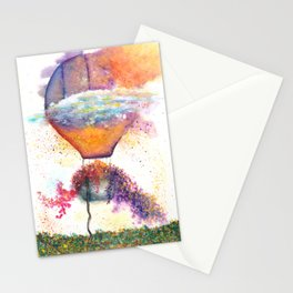 Hot Air Balloon on Fire Watercolor Stationery Cards