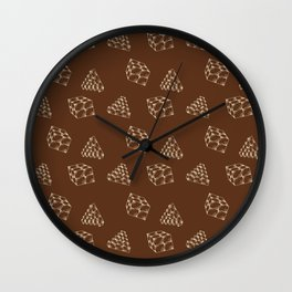 the pyramids and cubes on a brown background . illustration Wall Clock