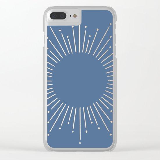 Simply Sunburst in Aegean Blue Clear iPhone Case