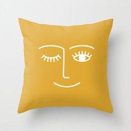 wink / mustard Throw Pillow